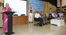Hon'ble Governor and Chancellor of Goa University, Dr. (Smt.) Mridula Sinha addressing at the inaugural ceremony of Constitution Week Celebrations at Goa University, Taliegao on January 19, 2018. Also seen are Justice (Retd.) R.M.S. Khandeparkar, Acting Vice Chancellor of Goa University, Prof. M. K. Janarthanam, Director of Higher Education, Shri Prasad Lolayekar and HOD of Goa University, Prof. Rahul Tripathi.