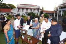 Hon'ble Governor felicitated the winner of Slogan Writing competition under Swachh Bharat Abhiyan